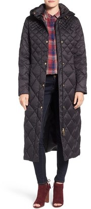 Petite Women's Ellen Tracy Diamond Quilted Down Maxi Coat $320 thestylecure.com