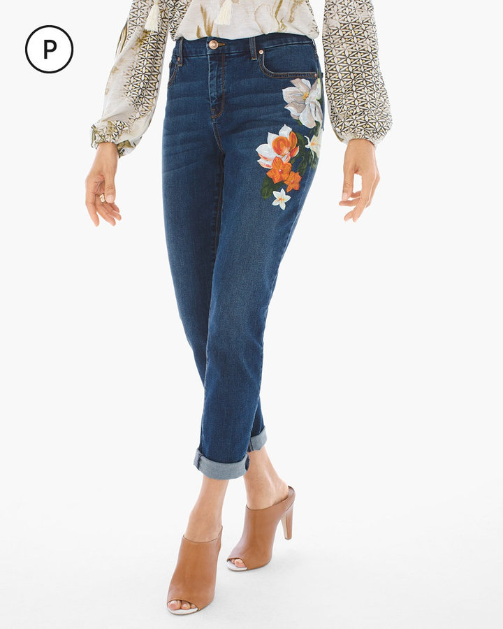 Chico'sPainted Botanical Girlfriend Ankle Jeans