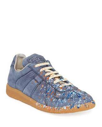 Maison Margiela Men's Replica Paint-Splatter Suede Low-Top Sneakers, Blue