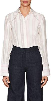 Victoria Beckham Women's Striped Silk Cutout-Sleeve Blouse