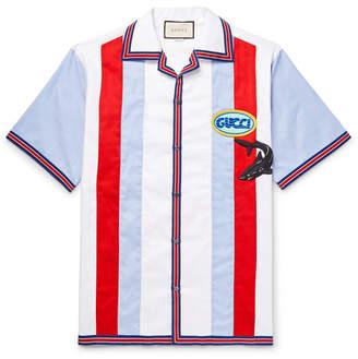Gucci Camp-Collar Appliquéd Striped Cotton Oxford Shirt