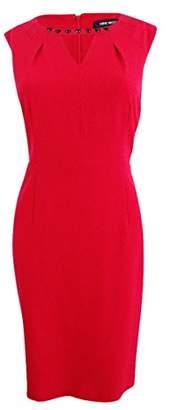 Nine West Women's Plus Size Stretch Crepe Keyhole Sheath Dress
