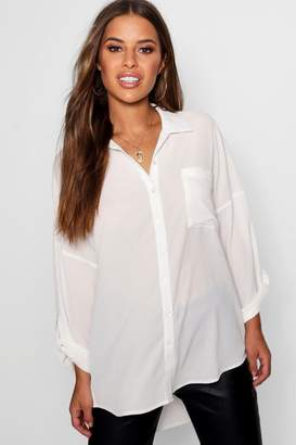 boohoo Petite Oversized Woven Shirt