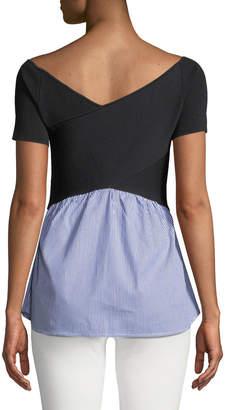 Nicole Miller New York Short-Sleeve Sweater with Shirttail Hem