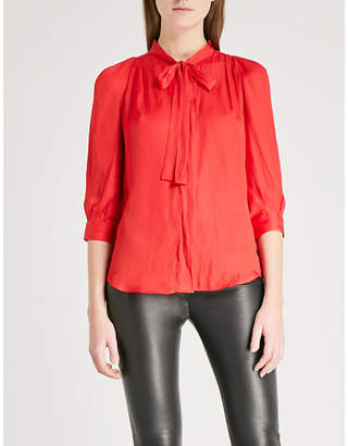 Zadig & Voltaire Bow-embellished satin blouse