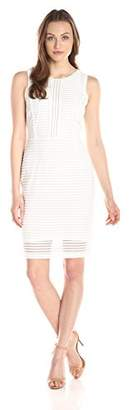 Lark & Ro Women's Sleeveless 3D Stripe Sheath Dress