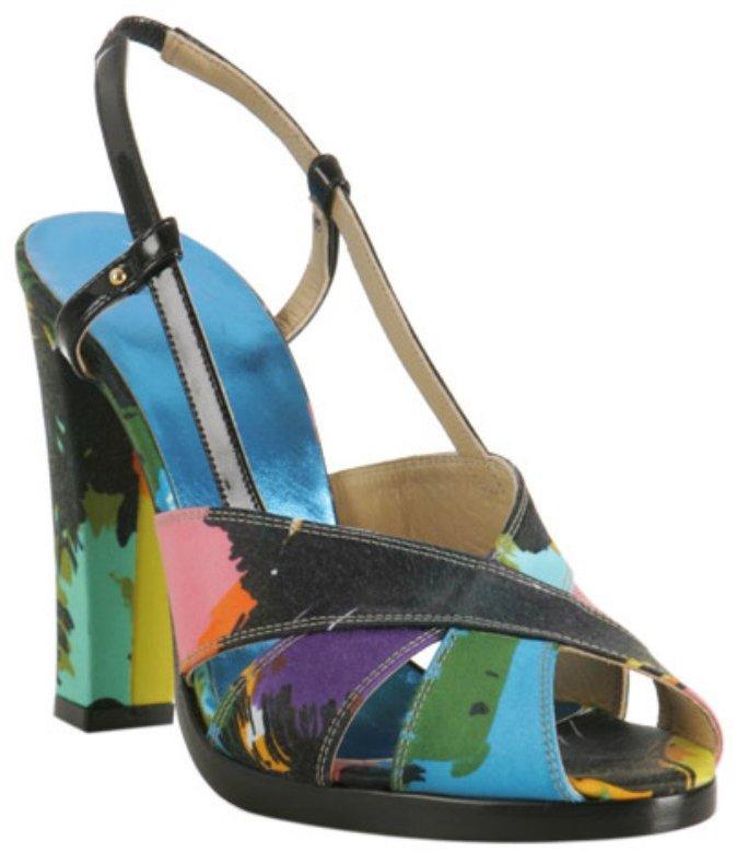 Balenciaga black satin multicolor floral printed sandals