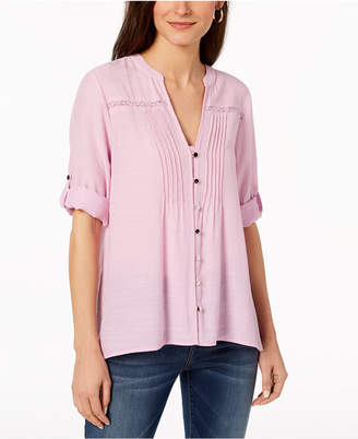 NY Collection Petite Crochet-Trim Roll-Tab Shirt