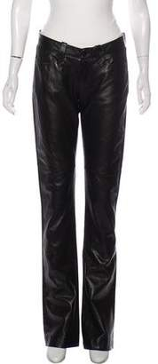 Ralph Lauren Black Label Leather Low-Rise Pants