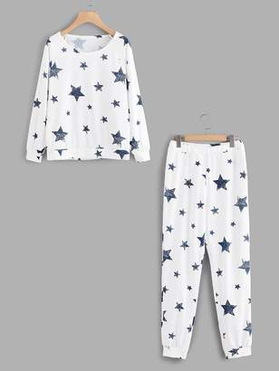 Shein Stars Print Raglan Pullover & Pants Pj Set