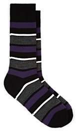 Barneys New York Men's Striped Wool-Blend Mid-Calf Socks - Black