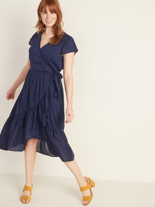 Old Navy Waist-Defined Faux-Wrap Tiered-Hem Midi for Women
