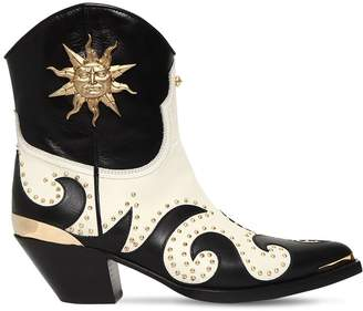 Fausto Puglisi 50mm Studded Leather Cowboy Boots