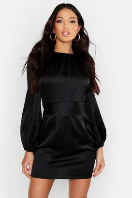 boohoo Satin Blouson Sleeve Mini Dress