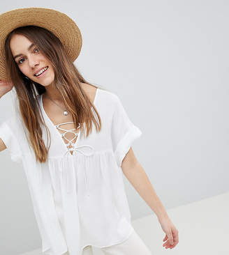 Asos DESIGN Petite Smock Tunic With Lace Up Detail