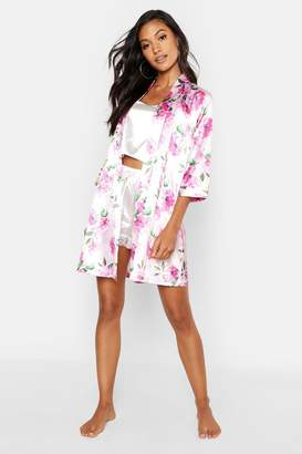 boohoo Rosey Floral Satin Gown
