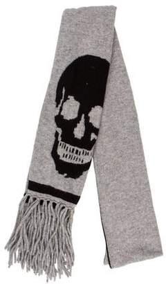 Skull Cashmere Skull Print Fringe Scarf