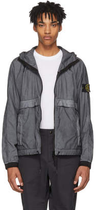 Stone Island Grey and Black Hooded Jacket