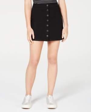 Dollhouse Juniors' Button-Front Jean Skirt