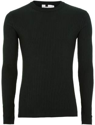 Topman Green and Black Muscle Fit Ribbed Jumper