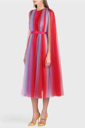 Carolina Herrera Pleated Tulle Rainbow Dress