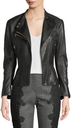 Jonathan Simkhai Zip-Front Leather Moto Jacket