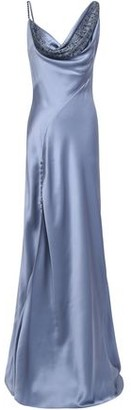 Roberto Cavalli Crystal-embellished Draped Silk-satin Gown