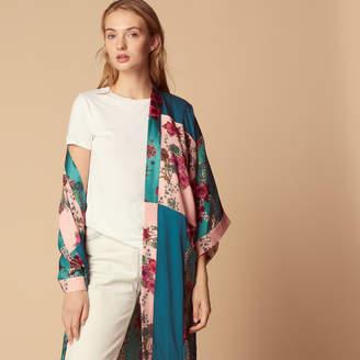 Sandro Long flower print kimono-style jacket