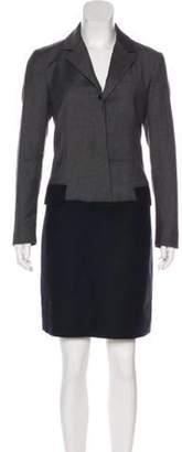 Derek Lam Wool Colorblock Dress Grey Wool Colorblock Dress