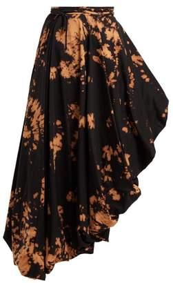 Marques Almeida Marques'almeida - Tie Dye Asymmetric Midi Skirt - Womens - Black Multi