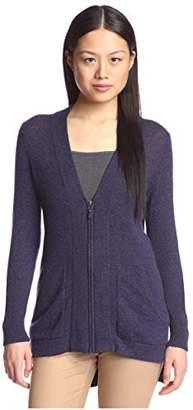 Cashmere Addiction Women's High-Low Zipper Cardigan Sweater