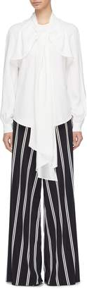 Oscar de la Renta Tie yoke overlay blouse