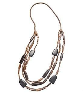 David Jones Triple Strand Resin Bead Necklace