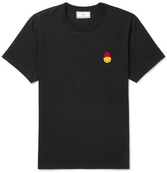 Ami + The Smiley Company Appliquéd Cotton-Jersey T-Shirt