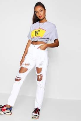 boohoo Sophie High Waist Distressed Mom Jeans