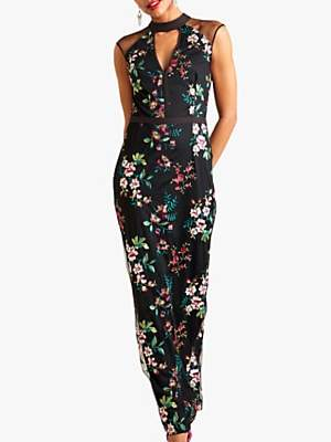 Yumi Embroidered Floral Maxi Dress, Black