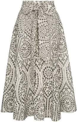 Lisa Marie Fernandez eyelet full waist tie midi skirt