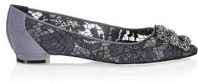 Manolo Blahnik Hangflala Embellished Satin Flats