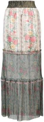 Anna Sui floral tulle hem maxi skirt