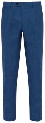 Etro Slim Leg Linen Trousers - Mens - Blue