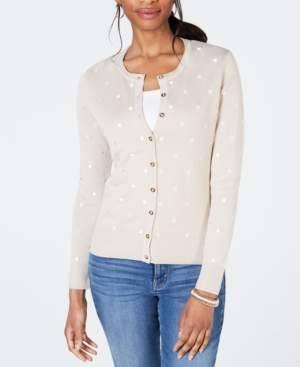 Charter Club Petite Embroidered Dot Cardigan, Created for Macy's