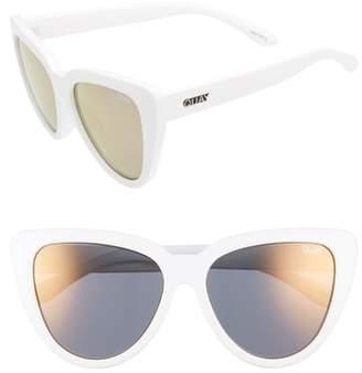 Quay Stray Cat 58mm Mirrored Cat Eye Sunglasses