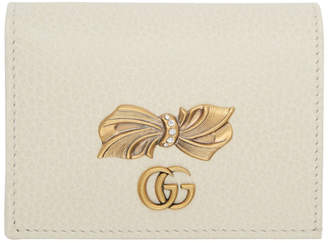 Gucci White Petit Bow Card Holder