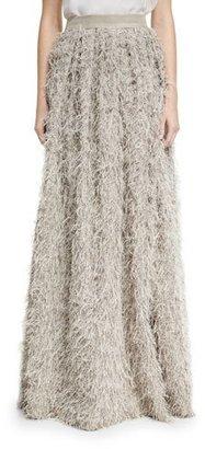 Brunello Cucinelli Summer Faux-Fur Maxi Skirt, Gray $1,645 thestylecure.com