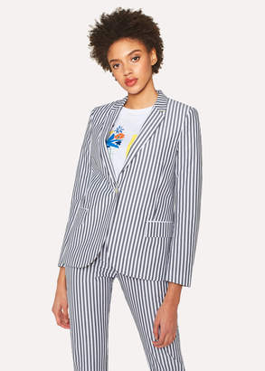 Paul Smith Women's Grey And White Striped Cotton Blazer With 'Ice Lolly' Lining