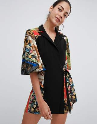 186a5a27ac Asos Design DESIGN playsuit with cape and scarf print detail