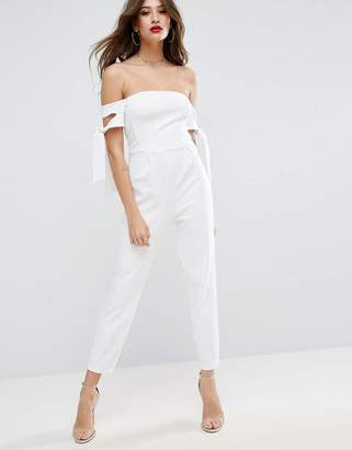 ASOS Bardot Jumpsuit with Tie Sleeve Detail $64 thestylecure.com