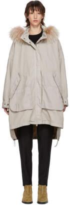 Yves Salomon Army Grey Long Chevron Pocket Coat
