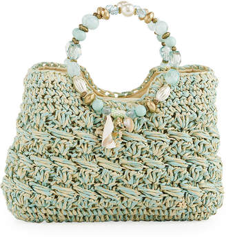 Capelli of New York Straworld Sea Charms Crochet Straw Tote Bag, Aqua