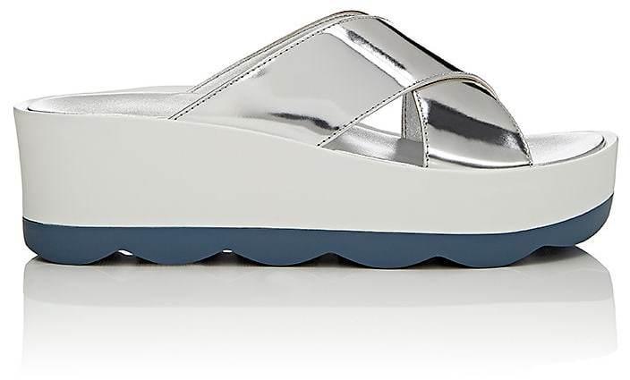 Prada Women's Wavy-Sole Leather Platform-Wedge Sandals